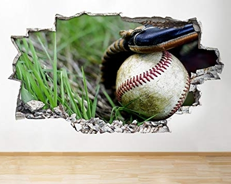 Baseball 3D Wall Art With Latest R439 Baseball Sport Ball Glove Fun Smashed Wall Decal 3D Art (View 15 of 15)