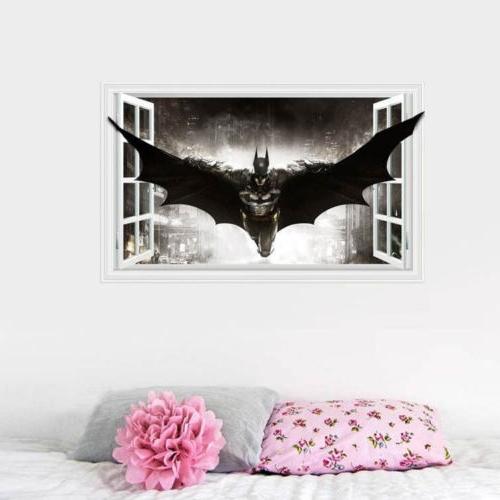 Batman 3D Window Wall Sticker Kids Room Cartoon Decor Removable Diy Throughout Popular Batman 3D Wall Art (View 6 of 15)