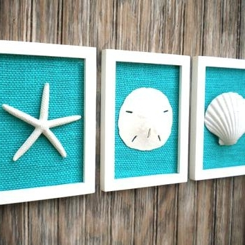 Beach Home Decor Cottage Chic Set Of Beach Wall Art Decor Shells Inside 2017 Beach Cottage Wall Art (View 10 of 15)