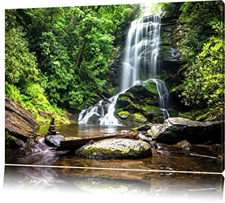 Beautiful Tropical Waterfall Canvas, Xxl Huge Pictures Completely In Famous Waterfall Wall Art (View 13 of 15)