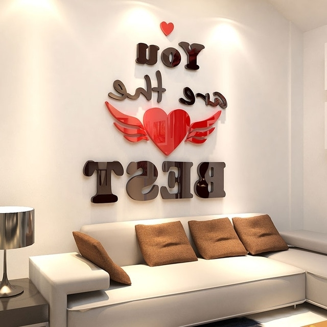 Bedroom 3D Wall Art With Best And Newest Aliexpress : Buy New Romantic Creative 3D Wall Stickers Living (View 8 of 15)