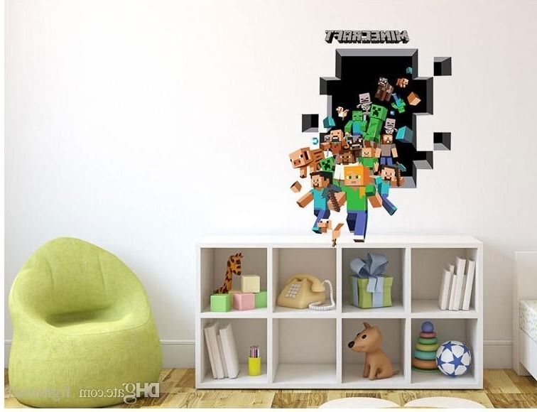 Best 3D Minecraft Wall Stickers Creeper Decorative Pig Steve Dig Pertaining To Most Popular Minecraft 3D Wall Art (View 2 of 15)