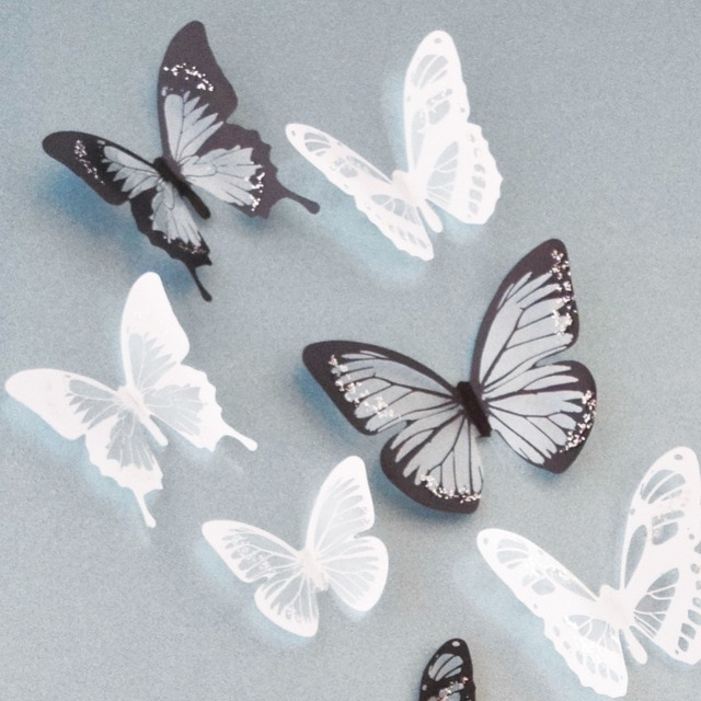 Best And Newest 18Pcs Black And White Crystal Butterfly 3D Wall Stickers Pvc Inside Butterflies 3D Wall Art (View 3 of 15)