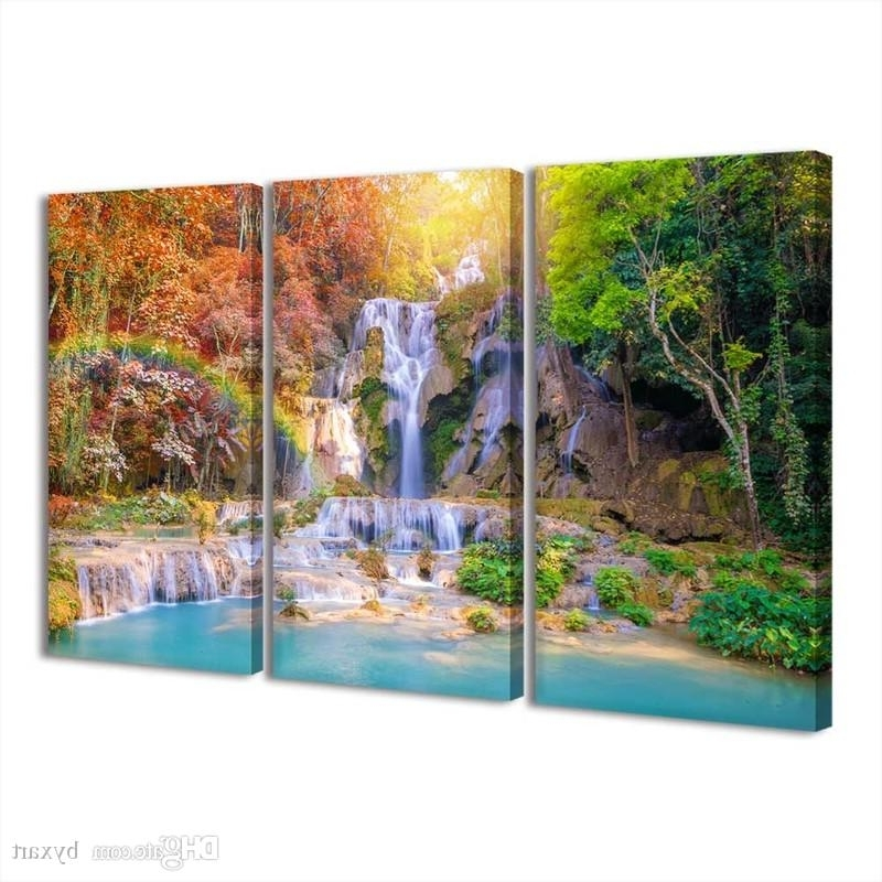 Best And Newest 2018 Modern Landscape Canvas Prints Waterfall Wall Art For Living For Waterfall Wall Art (View 15 of 15)