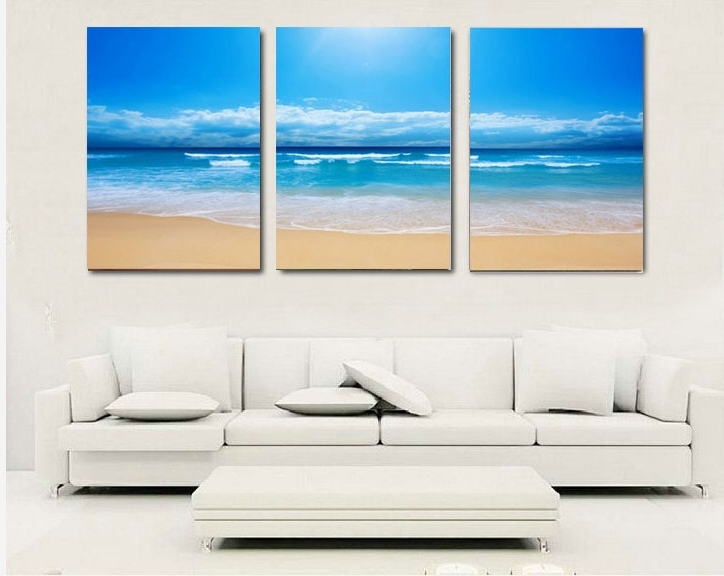 Best And Newest 3 Piece Beach Wall Art With Regard To 3 Piece Canvas Wall Art Sandy Beach Prints Picture Home Decoration (View 2 of 15)