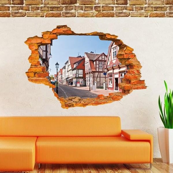 Best And Newest 3D Brick Wall Art Regarding Home Decor Living Room 3D Brick Wall Sticker Creative Fashion Street (View 6 of 15)