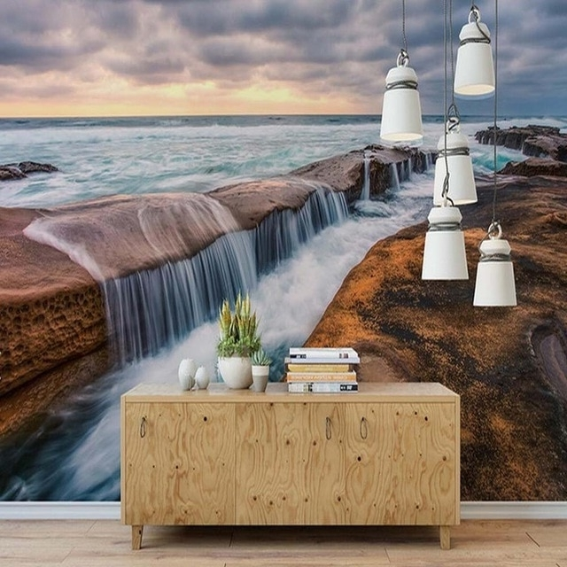 Best And Newest 3D Clouds Out Of Paper Wall Art In Beach Sea Waterfall Cloud Nature 3D Mural Wall Paper Living Room (View 14 of 15)