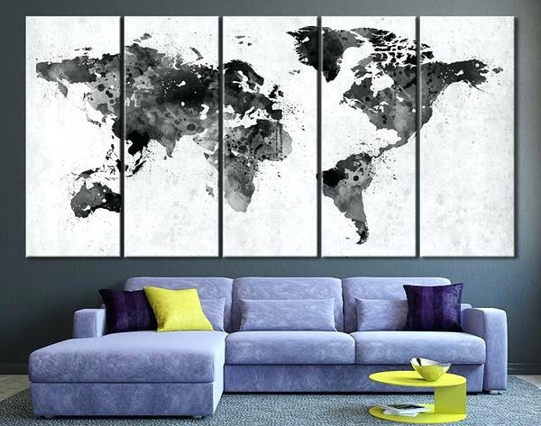 Best And Newest 3D Map Wall Decor Black White World Art Watercolor Canvas – D Carly Within Maps For Wall Art (View 7 of 15)