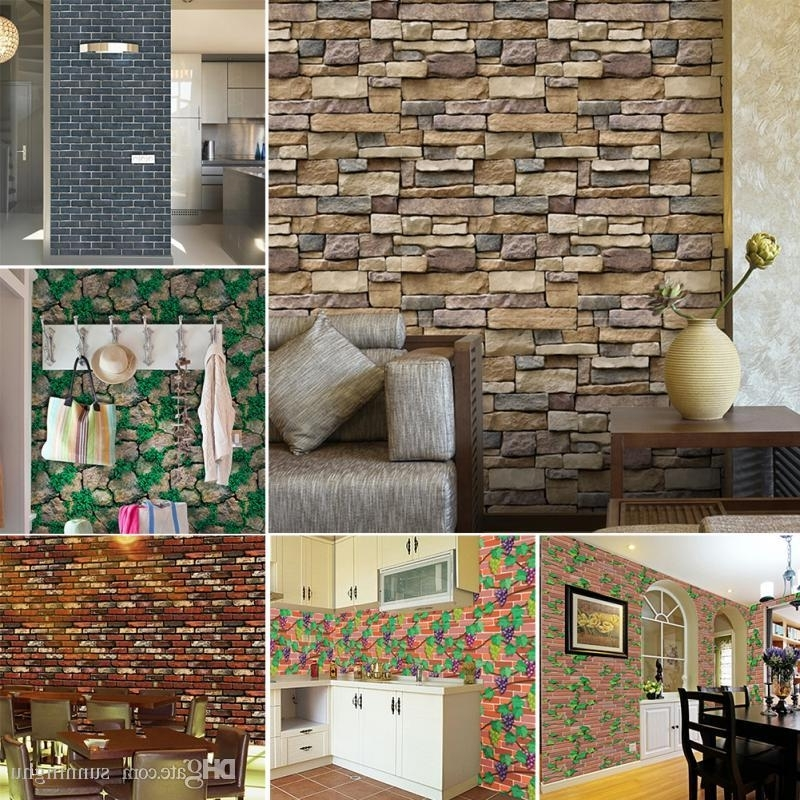 Best And Newest 3D Stone Brick Wall Stickers Home Decor Vintage Diy Pvc Wallpaper Intended For 3D Brick Wall Art (View 3 of 15)