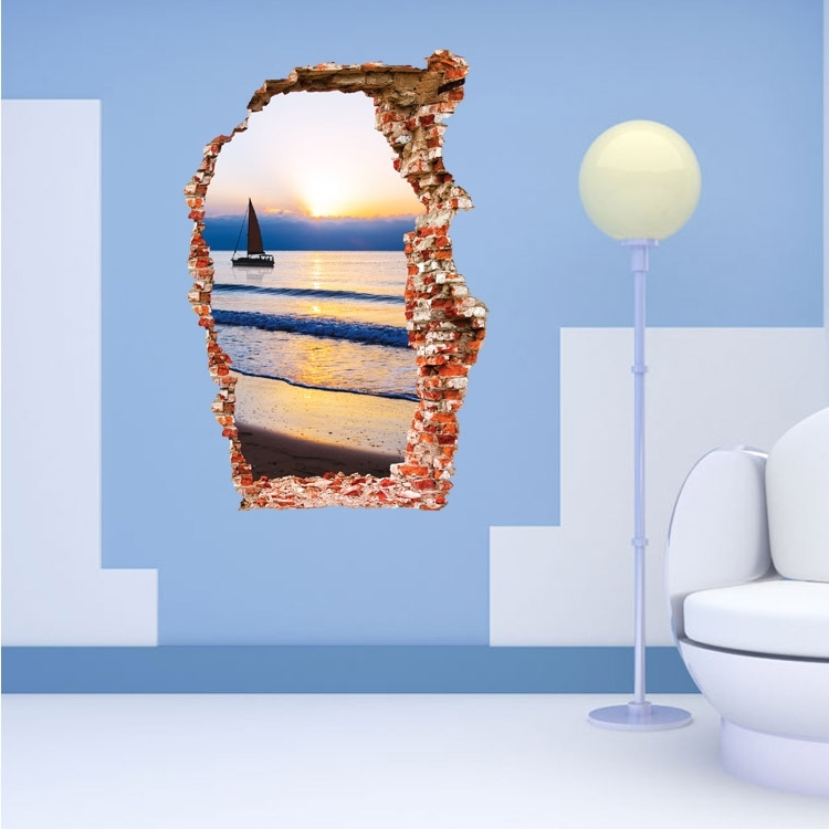 Best And Newest 3D Sunset Effect Wall Stickers – Home Decoration – 100 Hot Deals Pertaining To 3D Effect Wall Art (View 4 of 15)