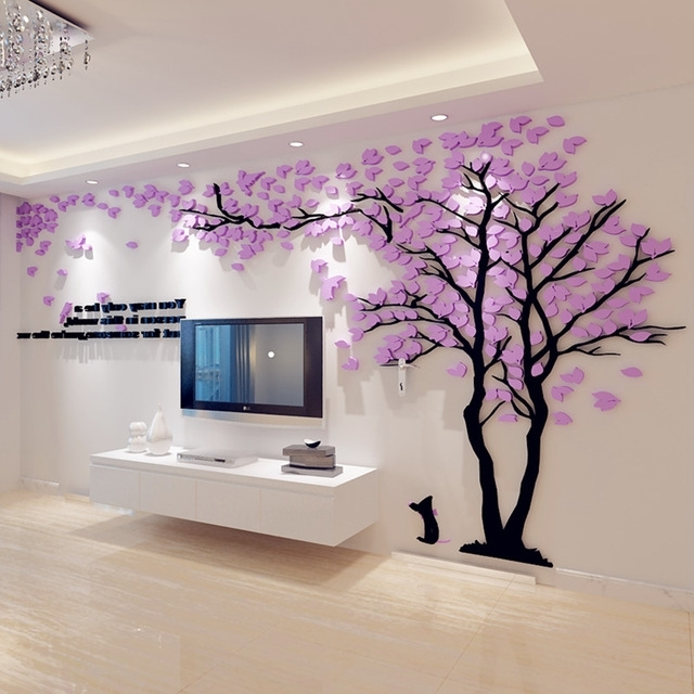 Best And Newest 3D Tree Wall Art Throughout 3D Big Tree Wall Murals For Living Room Bedroom Sofa Backdrop Tv (View 5 of 15)