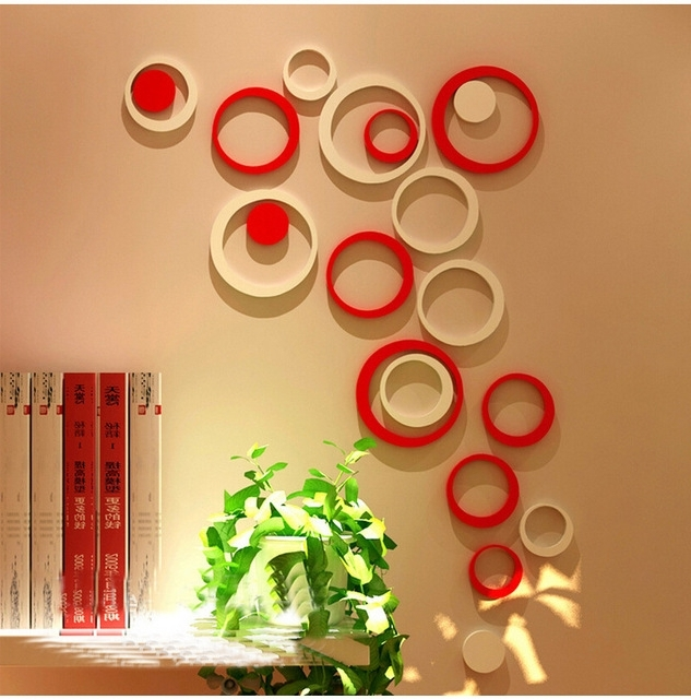 Best and Newest 5Pcs/1 Box Acrylic 3D Circle Wall Stickers Modern Home Decor Diy with 3D Circle Wall Art