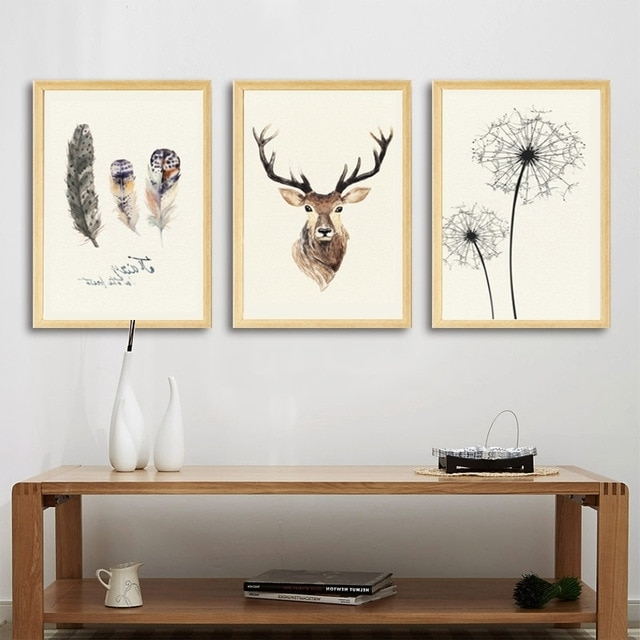 Best And Newest Abstract Deer Wall Art With Abstract Deer Canvas Painting Dandelion Feather Nordic Posters And (View 9 of 15)