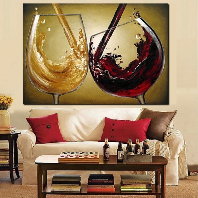 Best And Newest Abstract Wall Art 3D Pertaining To 3D Hand Painted Canvas Wine Oil Paintings Red Wine Glass Modern (View 10 of 15)