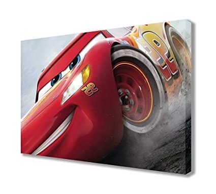 "Best And Newest Amazon: Cars 3 Lightning Mcqueen Canvas Wall Art (44"" X 26 With Regard To Lightning Mcqueen Wall Art (View 15 of 15)"