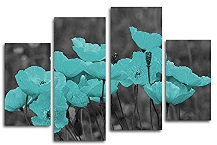 Best And Newest Amazon: Modern Teal Flower Canvas Wall Art Print, Set Of 4 Throughout Teal Flower Canvas Wall Art (View 2 of 15)