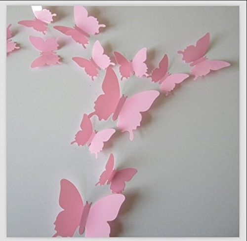 Best And Newest Amazon: Romantiko 12 Pcs Fashion 3D Butterfly Wall Stickers Art With Regard To Pink Butterfly Wall Art (View 3 of 15)