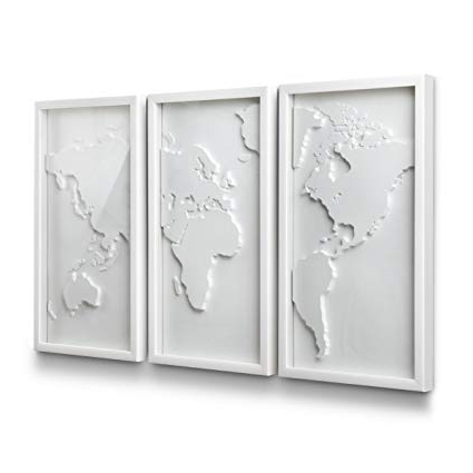 Best And Newest Amazon: Umbra Mapster Framed Wall Art, Set Of 3: Home & Kitchen Throughout Umbra 3D Wall Art (View 1 of 15)