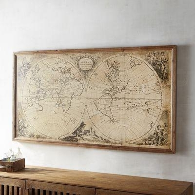 Best And Newest Antique Map Wall Art Regarding Tan Vintage World Map Framed Art (View 5 of 15)