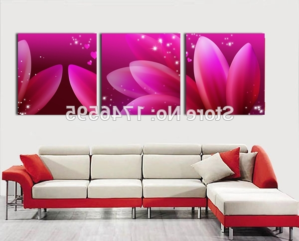 Best And Newest Big 3Pieces Modern Home Wall Decor Abstract Aubergine Flower Wall Pertaining To Aubergine Wall Art (View 12 of 15)