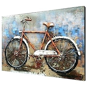Best And Newest Bike Wall Art Pertaining To Bike Wall Decor Metal Bicycle Art 2 Piece Panels Set Modern Circle (View 7 of 15)