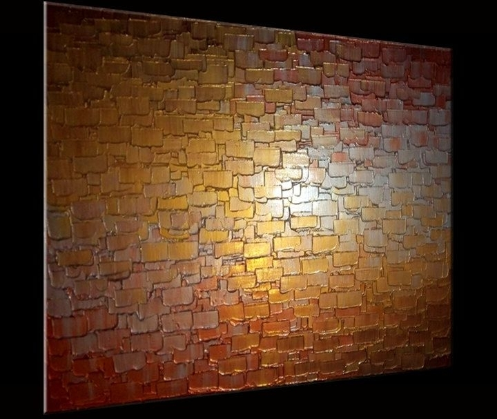 Best And Newest Buy A Hand Made Palette Knife Painting, Metallic Art, Textured Intended For Abstract Copper Wall Art (View 7 of 15)