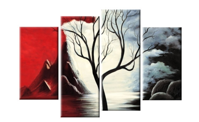 Best And Newest Cheap Black And White Wall Art With New Beginnings Red Black White Tree Landscape Abstract 4 Panel (View 2 of 15)