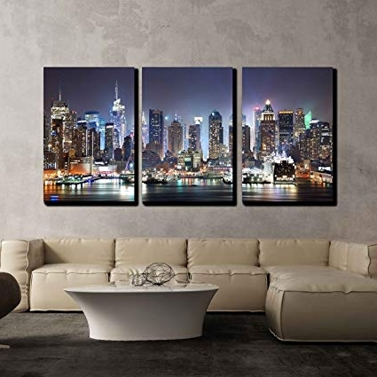 Best And Newest Cityscape Canvas Wall Art In Amazon: Wall26 3 Piece Canvas Wall Art – New York City Manhattan (View 1 of 15)
