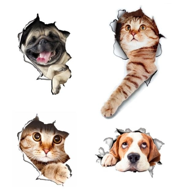 Best And Newest Dogs 3D Wall Art Within 3D Cats Wall Decals Removable Toilet Lid Stickers Hole View Vivid (View 5 of 15)