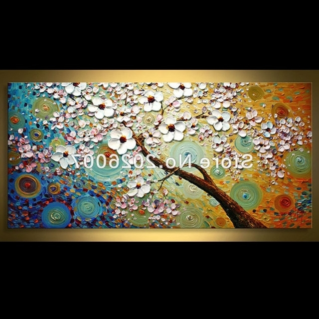 Best And Newest Hand Paited Wall Art Vibrant Tree Landscape Oil Painting Decor On Intended For Vibrant Wall Art (View 2 of 15)
