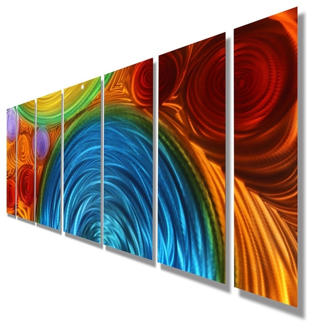 Best And Newest Houzz Abstract Wall Art Within Large Blue, Orange And Red Abstract Metal Wall Sculpturejon (View 3 of 15)
