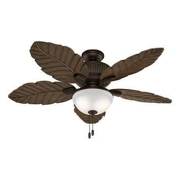 Best And Newest Hunter Sable Ridge Ii Led Outdoor Celiing Fan With Palm Leaf Blades Inside Outdoor Ceiling Fans With Leaf Blades (View 4 of 15)