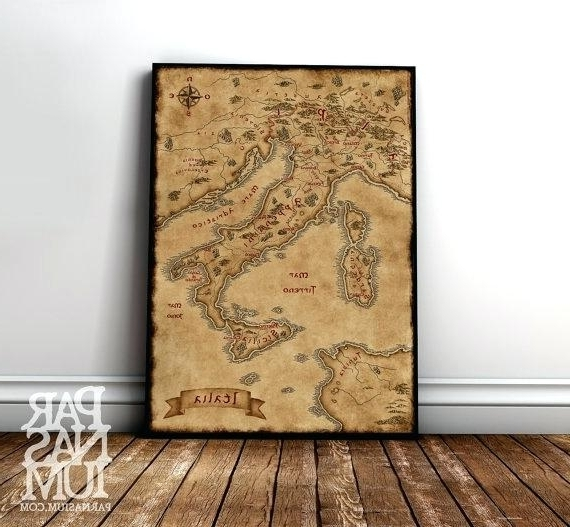 Best And Newest Italian Wall Art Fantasy Map Of Wall Art Print Decor For Inside Italian Wall Art Decor (View 15 of 15)