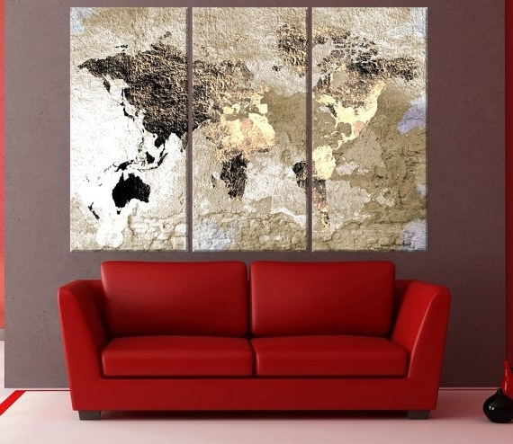 Best And Newest Large Abstract World Map Canvas Wall Art Vintage World Map Canvas For Abstract World Map Wall Art (View 6 of 15)