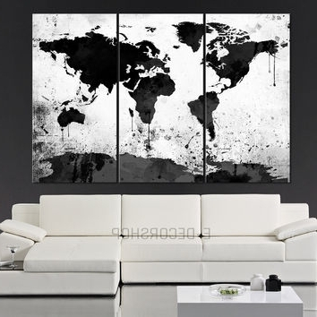 Best And Newest Large Black And White Wall Art Inside Best White World Map Wall Art Products On Wanelo (View 3 of 15)