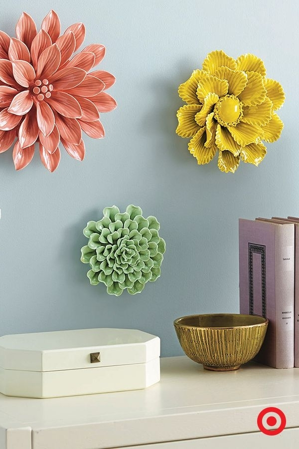 Best And Newest Large Ceramic Wall Art In Metal Wall Art Decor Large Paper Flowers Wall Decor White Flower (View 7 of 15)