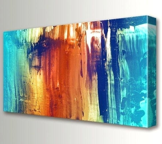 Best And Newest Large Teal Wall Art Teal Wall Art Large Painting Abstract Canvas Art Pertaining To Orange And Turquoise Wall Art (View 1 of 15)
