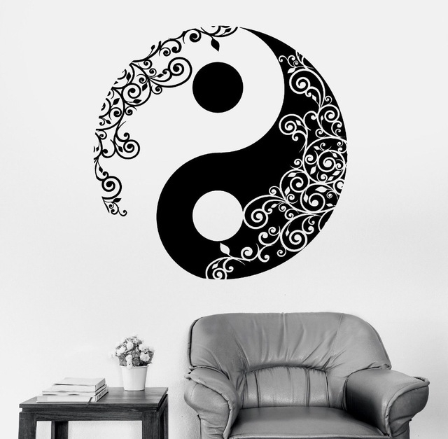Best And Newest Mandala Wall Sticker Home Decal Buddha Yin Yang Floral Yoga Within Yin Yang Wall Art (View 4 of 15)