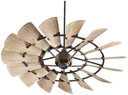 Best And Newest Outdoor Windmill Ceiling Fans With Light Regarding Quorum 96015 86 Windmill Ceiling Fan In Oiled Bronze With Weathered (View 3 of 15)