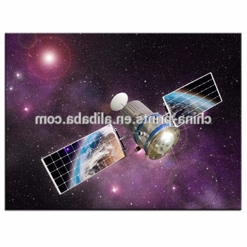 Best And Newest Outer Space Wall Art For Outer Space Wall Art,satellite Orbiting The Earth Picture Photo (View 9 of 15)