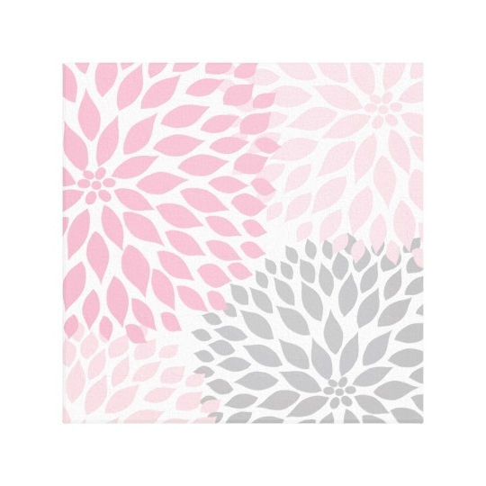 Best And Newest Pink And Grey Wall Art Pertaining To Pink And Gray Dahlia Square Wall Art (View 3 of 15)