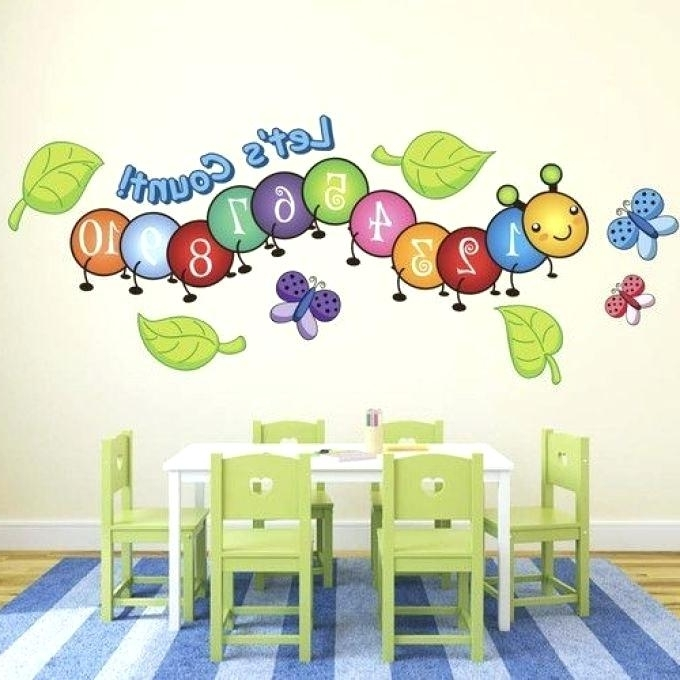 Best And Newest Preschool Classroom Wall Decorations Cute Centipede Number Count Within Preschool Classroom Wall Decals (View 2 of 15)