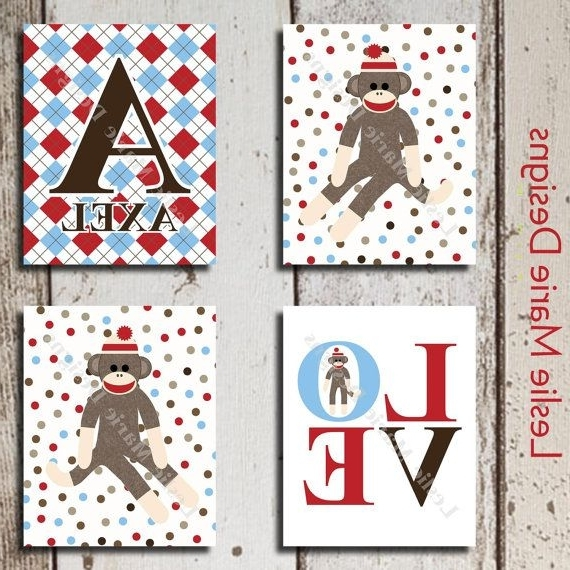 Best And Newest Sock Monkey Wall Art Within Sock Monkey Nursery – Sock Monkey Wall Art – Polka Dots And Argyle (View 3 of 15)
