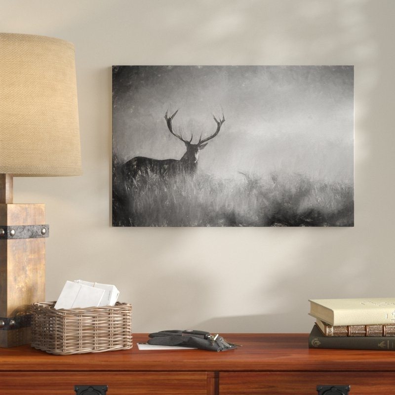 Best And Newest Stag Wall Art Throughout Alpenhome Red Deer Stag In The Mist Wall Art On Canvas (View 4 of 15)