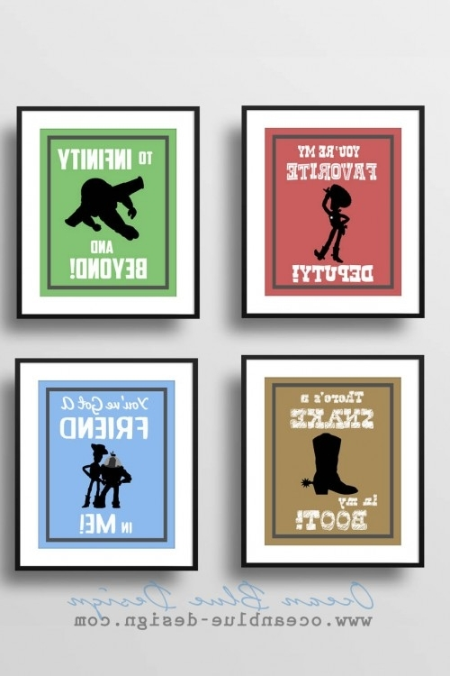 Best And Newest Toy Story Prints – Set Of 4 – 8″x10″ Prints Child's Room Or Nursery Regarding Toy Story Wall Art (View 13 of 15)