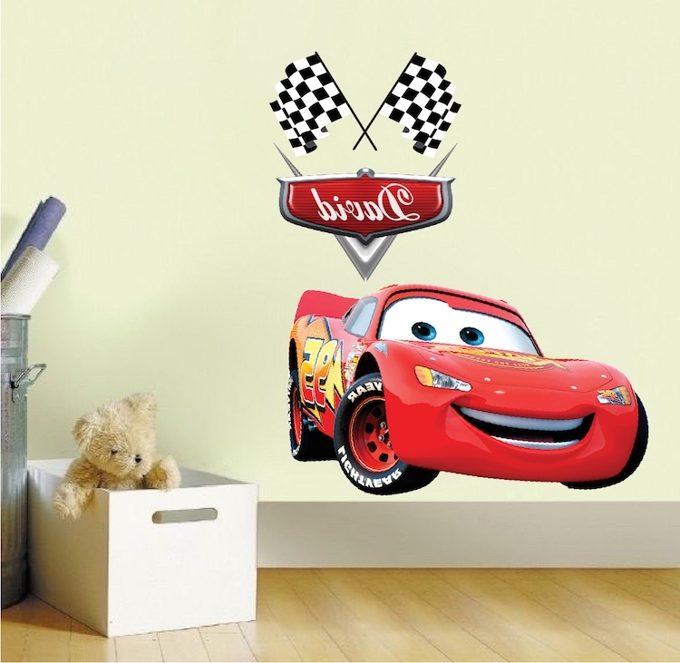 Best And Newest Wall Decal: Awesome Lightning Mcqueen Wall Decals Disney Pixar Cars Regarding Lightning Mcqueen Wall Art (View 6 of 15)
