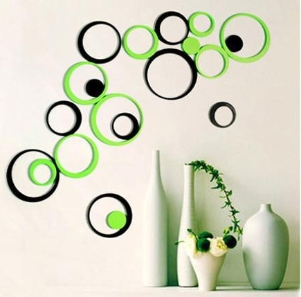 Best And Newest Wholesale Circle Round Bubble 3D Wood Wall Sticker Wooden Wall Decal Intended For 3D Circle Wall Art (View 2 of 15)