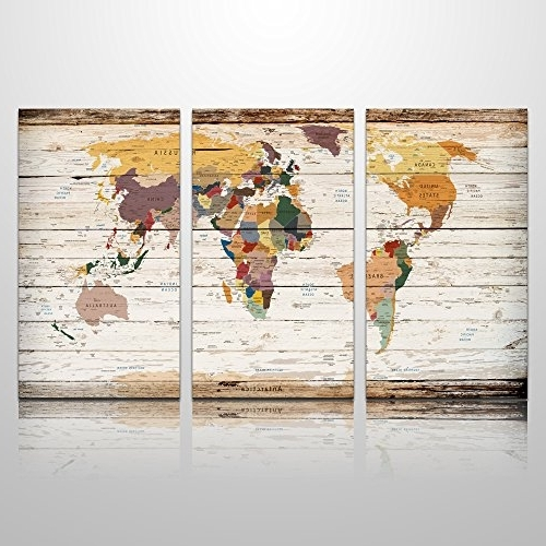 Best And Newest Xxlarge Vertical Wood World Map Canvas Prints Atlas Framed Map Wall Inside Atlas Wall Art (View 12 of 15)