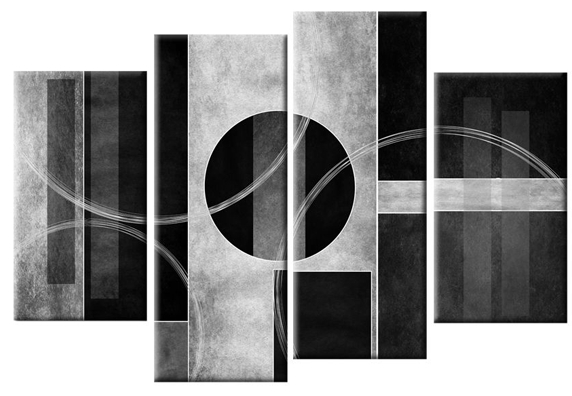 Bianco Nero Abstract Canvas Wall Art Print 4 Panel Black White Grey With Well Liked Grey Abstract Canvas Wall Art (View 3 of 15)