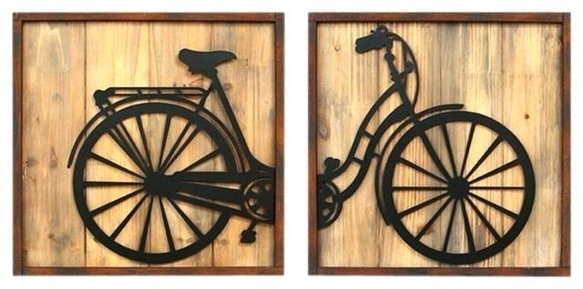 Bicycle Metal Wall Art Within Most Recently Released Bike Wall Decor Bike Wall Art Home Decor Set Of 2 Retro Bicycle (View 7 of 15)